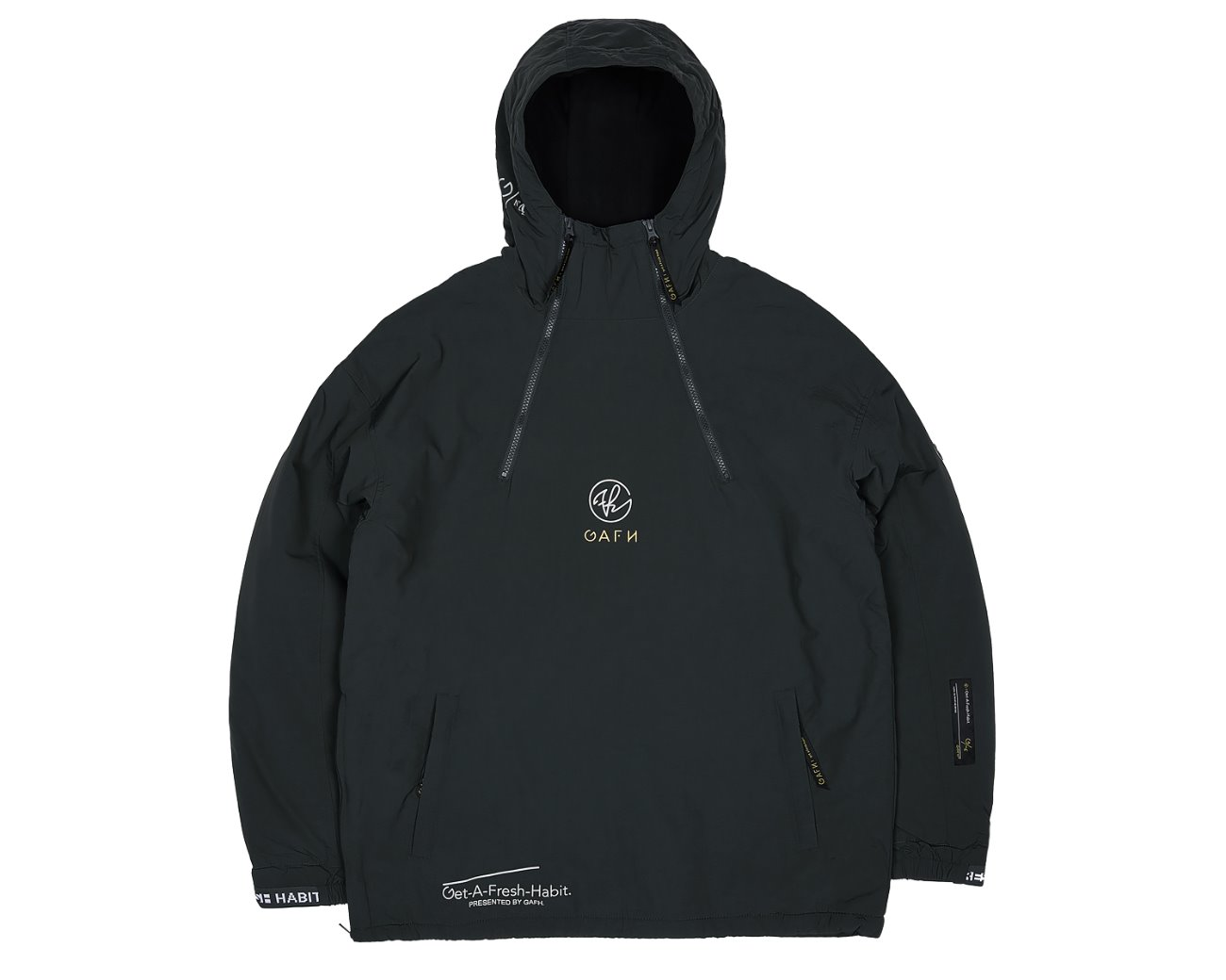 DOUBLE ZIP UP PULLOVER BLACK / GAFH